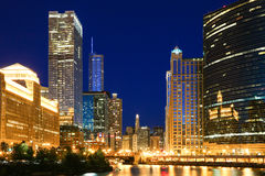 Chicago Skyline at night Stock Image