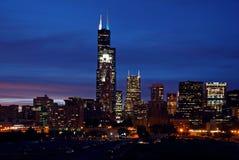 Chicago Skyline at Night Stock Photo