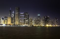 Chicago skyline by night stock photography