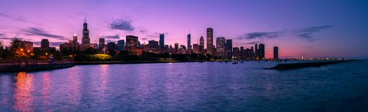 Chicago Skyline at Night. As viewed from Adler Planetarium stock photo