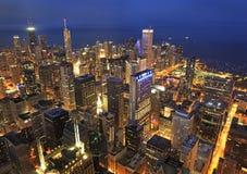 Chicago skyline at night. Chicago skyline and Buckingham Fountain at dusk, Illinois, USA stock image