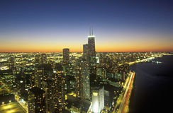 The Chicago Skyline at Night, Chicago, Illinois Royalty Free Stock Image