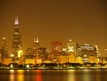 Chicago skyline at night. The glittering Chicago Illinois skyline at night as seen from Lake Michigan Stock Photography