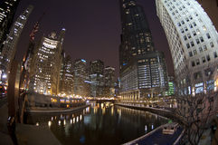 Chicago Skyline at Night over the River Stock Photos