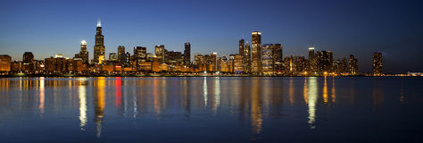 Chicago Skyline at night panoramic Stock Images