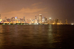 Chicago skyline at night. View from Adler Planetarium Stock Photos