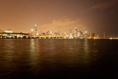 Chicago skyline at night. View from Adler Planetarium Stock Photography