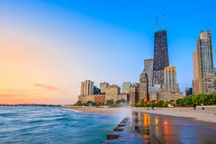 Chicago skyline. From North Avenue Beach royalty free stock photo