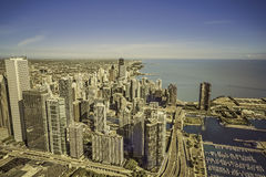 Chicago skyline panorama aerial Royalty Free Stock Images