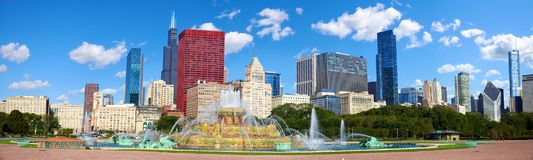 Chicago skyline panorama. With Buckingham Fountain, United States stock image