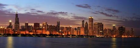 Chicago Skyline Panorama at Dusk Royalty Free Stock Photo