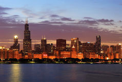 Chicago Skyline Panorama at Dusk Stock Images
