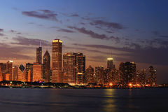 Chicago Skyline Panorama at Dusk Royalty Free Stock Photography