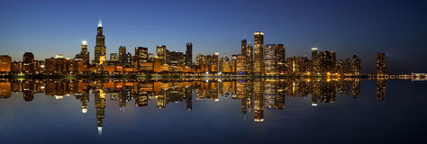 Chicago Skyline panorama mirrored view Stock Photos