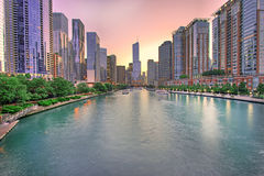 Chicago skyline panorama with Sunset, Chicago, USA Stock Photos