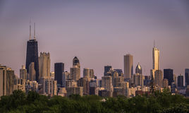 Chicago skyline panorama during sunset Royalty Free Stock Photos