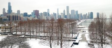 Chicago skyline panorama. Wintry park and skyline of Chicago - a panorama image stock photo