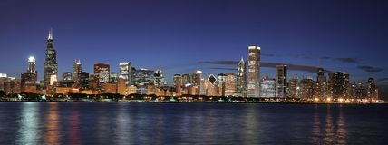 Chicago skyline panoramic. Chicago panoramic at twilight (large file Stock Image