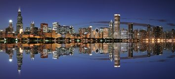 Chicago skyline panoramic. Chicago panoramic at twilight with reflection (large file Royalty Free Stock Images