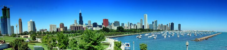 Chicago Skyline Panoramic. Panoramic photo of Chicago's famous skyline as seen from the Shedd Aquarium. The picturesque skyscrapers overlook Lake Michigan Stock Photo