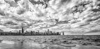 Chicago Skyline. Panoramic of Chicago skyline in black and white stock photos