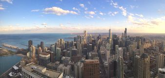 Chicago Skyline. Panoramic view from atop the John Hancock Center royalty free stock image