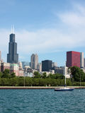 Chicago skyline from pier along Lake Michigan Stock Photo