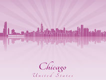 Chicago skyline in purple radiant orchid Stock Photography