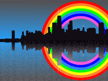 Chicago skyline with rainbow Stock Photo