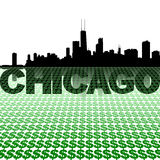 Chicago skyline reflected with dollar symbols Royalty Free Stock Photo