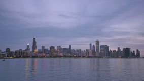Chicago Skyline Reflected on the Lake at Sunset stock video footage