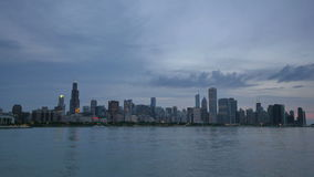 Chicago Skyline Reflected on the Lake at Sunset stock video