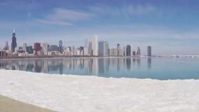 Chicago skyline reflecting on ice