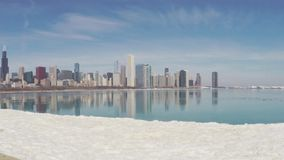 Chicago skyline reflecting on ice stock video footage