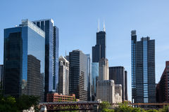 Chicago skyline from the river Royalty Free Stock Image