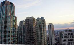 Chicago Skyline. Rooftop view of Chicago buildings at sunset Stock Photography