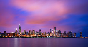 chicago skyline słońca Fotografia Royalty Free