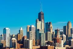 Chicago Skyline view from the West on a Sunny Day royalty free stock images