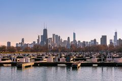 Chicago Skyline from Diversey Harbor during Winter stock photography