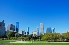 Chicago: skyline seen from Grant Park on September 22, 2014 Stock Image