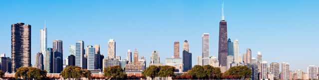 Chicago skyline seen from Lake Michigan Stock Photos