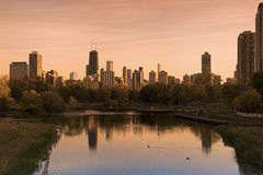 Chicago skyline seen from Lincoln Park Royalty Free Stock Photo