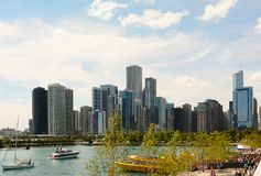 Chicago Skyline seen from Navy Pier Stock Photo