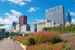 Chicago skyline seen from a path in Millennium Park Stock Photography