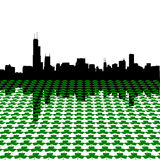 Chicago skyline with shamrocks Stock Photos