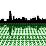 Chicago skyline with shamrocks royalty free illustration