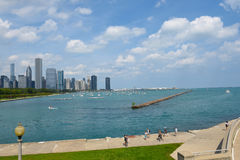 Chicago Skyline from the Shedd Aquarium. CHICAGO, ILLINOIS - SEPTEMBER 5, 2016: Chicago Skyline. Seen from the Shedd Aquarium looking across Monroe Harbor on Stock Photo