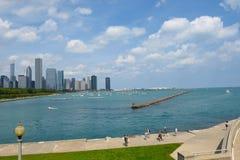 Chicago Skyline from the Shedd Aquarium Stock Photo