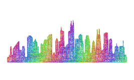 Chicago skyline silhouette - multicolor line art Royalty Free Stock Images