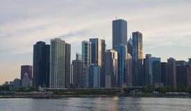 Chicago-Skyline-Sonnenuntergang Stockbilder
